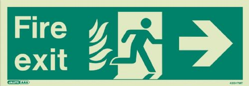 (435HTM) Jalite NHS Estates Fire Exit Right Sign